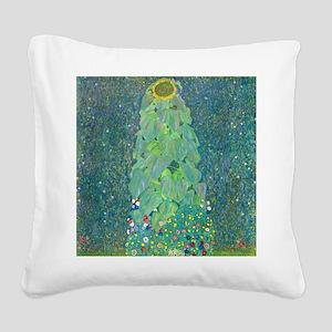 Sunflower by Gustav Klimt Square Canvas Pillow