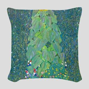 Sunflower by Gustav Klimt Woven Throw Pillow