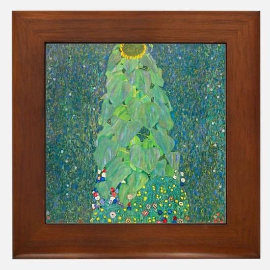 Sunflower by Gustav Klimt Framed Tile