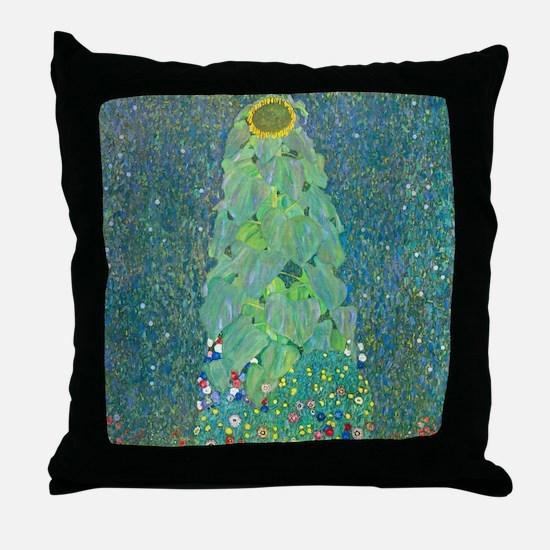Sunflower by Gustav Klimt Throw Pillow
