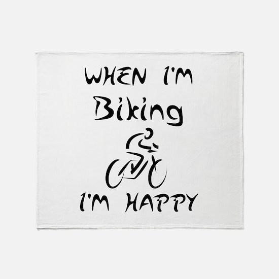 Biking (Black) Throw Blanket