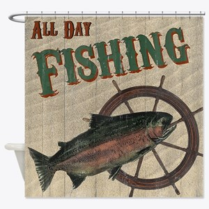 All Day Fishing Shower Curtain