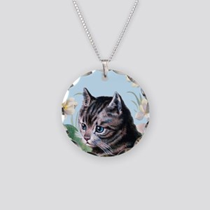 Cute kitten - vintage cat Necklace Circle Charm