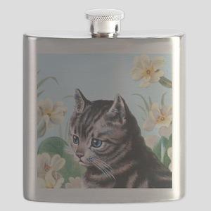 Cute kitten - vintage cat Flask