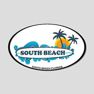 South Beach - Surf Design. 20x12 Oval Wall Decal