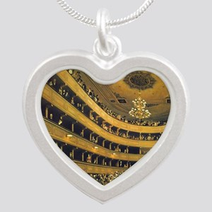 Old Burgtheater by Gustav Kl Silver Heart Necklace