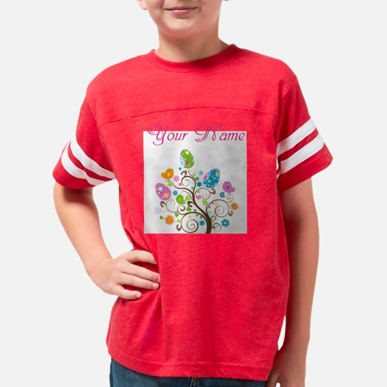 Personalized Easter Tree Youth Football Shirt