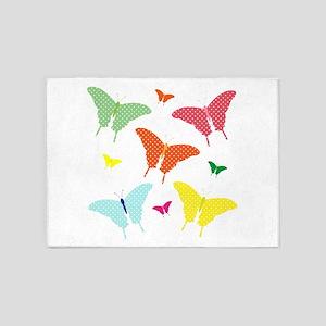 PolkaDot Butterflies 5'x7'Area Rug