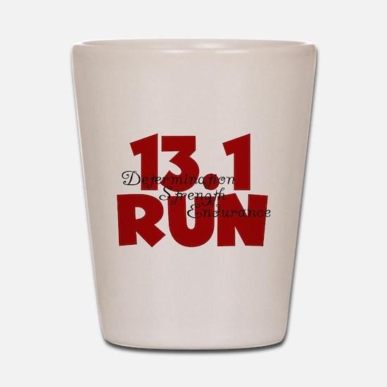 13.1 Run Red Shot Glass