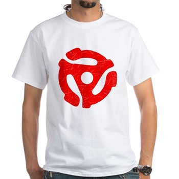 Red Distressed 45 RPM Adapter White T-Shirt