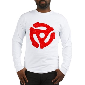 Red Distressed 45 RPM Adapter Long Sleeve T-Shirt