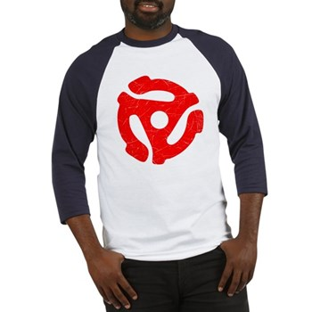 Red Distressed 45 RPM Adapter Baseball Jersey