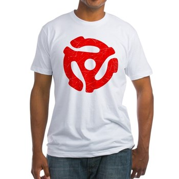 Red Distressed 45 RPM Adapter Fitted T-Shirt