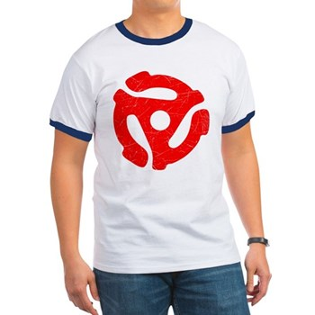 Red Distressed 45 RPM Adapter Ringer T-Shirt