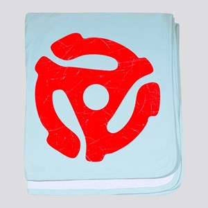 Red Distressed 45 RPM Adapter Infant Blanket