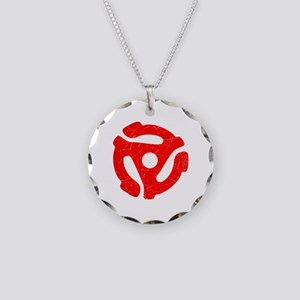 Red Distressed 45 RPM Adapter Necklace Circle Char