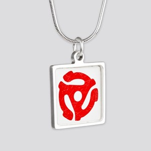 Red Distressed 45 RPM Adapter Silver Square Neckla