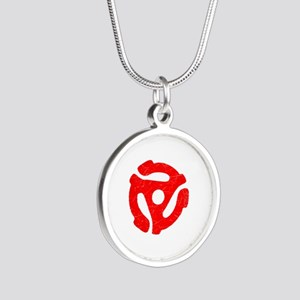 Red Distressed 45 RPM Adapter Silver Round Necklac