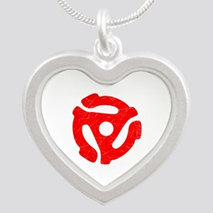 Red Distressed 45 RPM Adapter Silver Heart Necklac