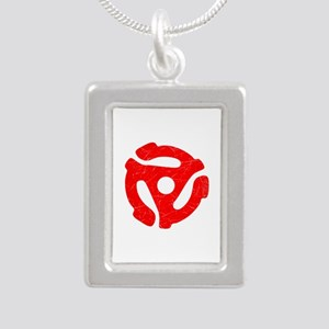 Red Distressed 45 RPM Adapter Silver Portrait Neck