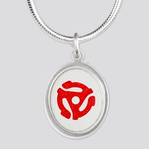 Red Distressed 45 RPM Adapter Silver Oval Necklace