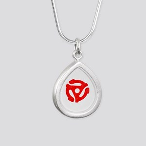 Red Distressed 45 RPM Adapter Silver Teardrop Neck