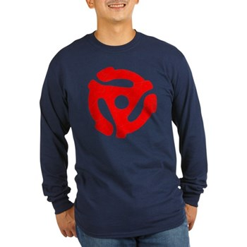 Red Distressed 45 RPM Adapter Long Sleeve Dark T-S