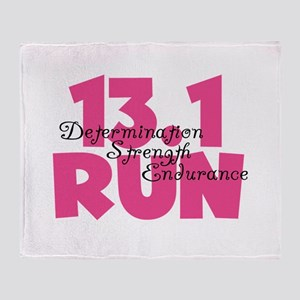 13.1 Run Pink Throw Blanket