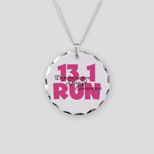 13.1 Run Pink Necklace Circle Charm