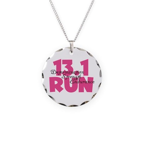 13.1 Run Pink Necklace Circle Charm