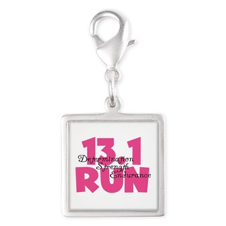 13.1 Run Pink Silver Square Charm