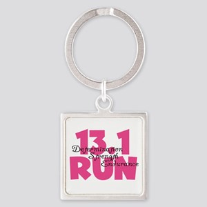 13.1 Run Pink Square Keychain