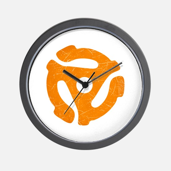 Orange Distressed 45 RPM Adapter Wall Clock