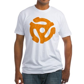 Orange Distressed 45 RPM Adapter Fitted T-Shirt
