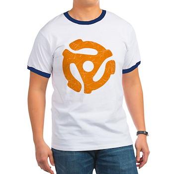 Orange Distressed 45 RPM Adapter Ringer T-Shirt