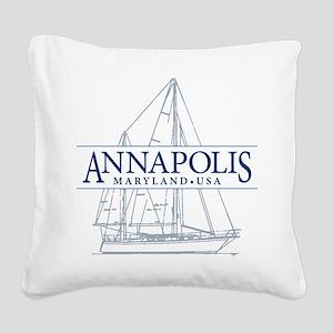 Annapolis Sailboat - Square Canvas Pillow