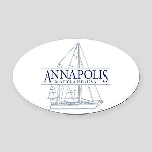 Annapolis Sailboat - Oval Car Magnet