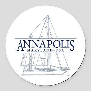 Annapolis Sailboat - Round Car Magnet