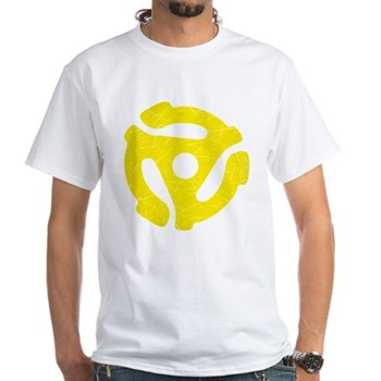 Yellow Distressed 45 RPM Adapter White T-Shirt