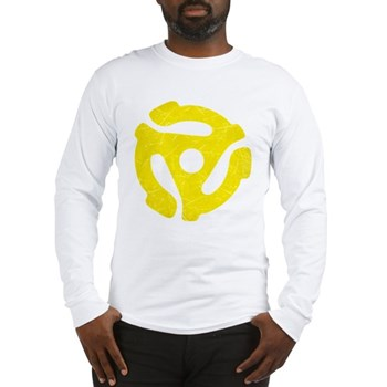 Yellow Distressed 45 RPM Adapter Long Sleeve T-Shi