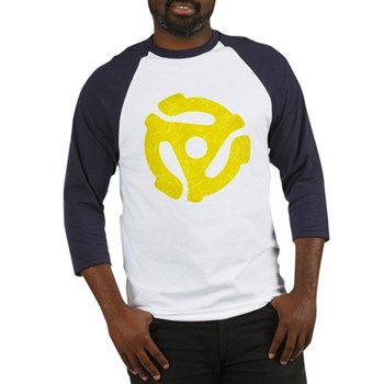 Yellow Distressed 45 RPM Adapter Baseball Jersey