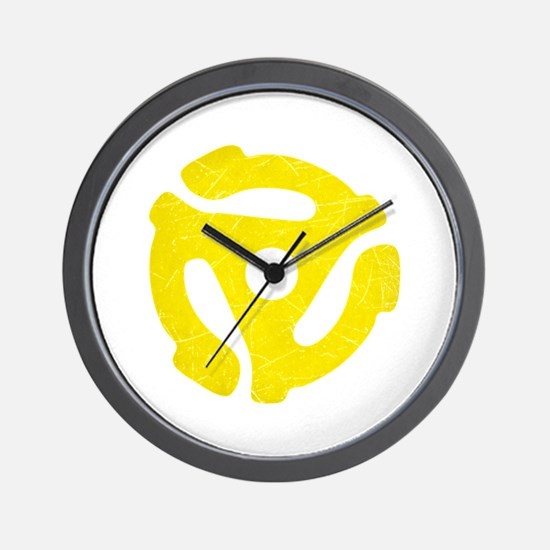 Yellow Distressed 45 RPM Adapter Wall Clock