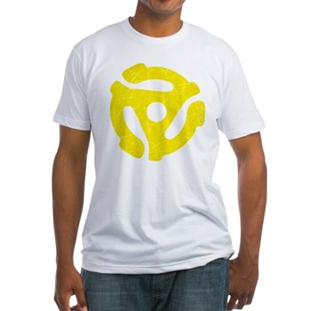 Yellow Distressed 45 RPM Adapter Fitted T-Shirt
