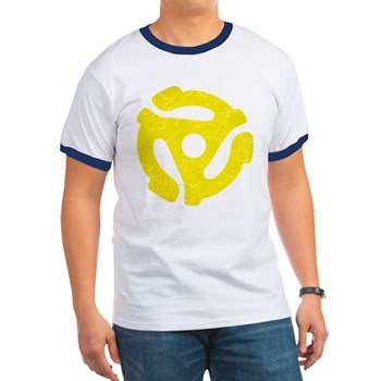 Yellow Distressed 45 RPM Adapter Ringer T-Shirt