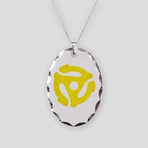 Yellow Distressed 45 RPM Adapter Necklace Oval Cha