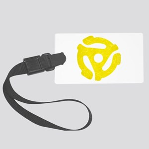 Yellow Distressed 45 RPM Adapter Large Luggage Tag