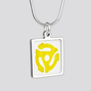 Yellow Distressed 45 RPM Adapter Silver Square Nec