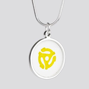 Yellow Distressed 45 RPM Adapter Silver Round Neck