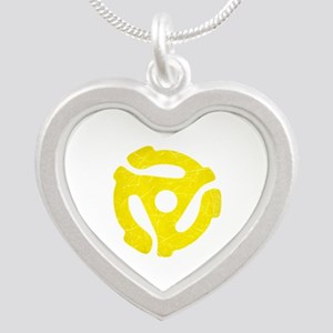 Yellow Distressed 45 RPM Adapter Silver Heart Neck