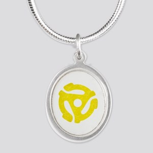Yellow Distressed 45 RPM Adapter Silver Oval Neckl